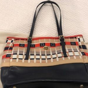 Spartina navy leather/patterned canvas bag